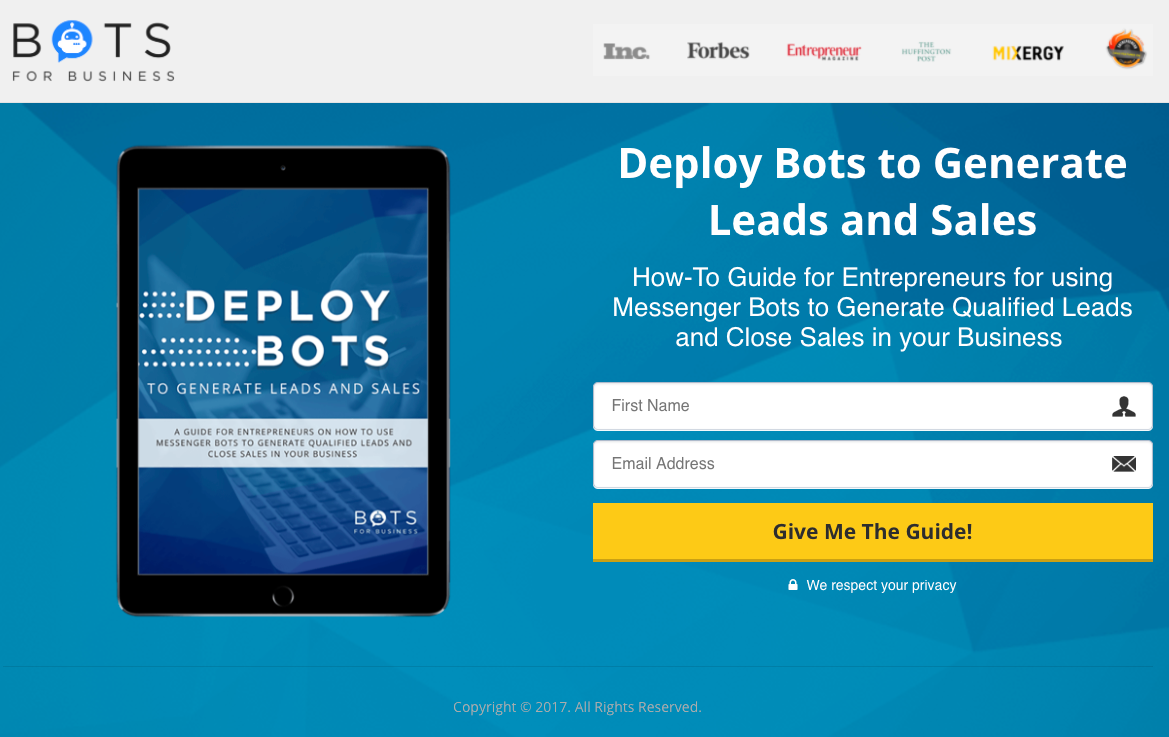 Bots for Business Landing Pages SSF Method example